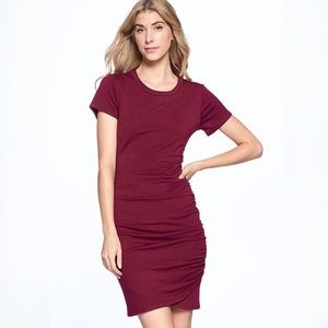 Axis Apparel Tulip Front Length Dress-RASPBERRY
